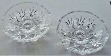 Set Of Circular Collectible Decorative Clear Candle Stick Holders Lovely Designs