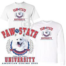 American Eskimo Dog Paw State University Short / Long Sleeve White T Shirt M-3X