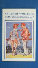 Risque Comic Postcard 1950s Knickers Panties Long Legs BREEZE UP THE CHANNEL