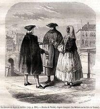Maschere a Venezia. 2. Carnevale. Mascherata. Stampa Antica + Passepartout. 1866