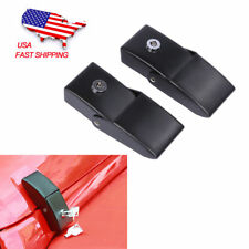 Pair Black Locking Hood Anti-Theft Look Catch Latches for Jeep Wrangler JK 07-18