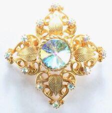 - Ab Rhinestones - Gold Tone Brooch Pin - Flower Filigree Leaves Crest