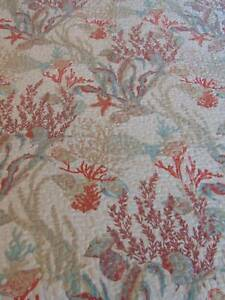 """reversible QUILTED BEDSPREAD coastal cream blue coral tan king 94"""" x 109"""""""