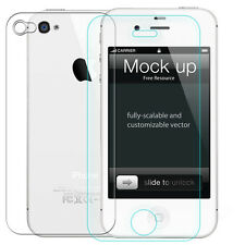 9H Back + Front Ultra Thin Tempered Glass Film Screen Protector For iPhone 4 4S