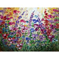 Flowers Garden Original Painting on Large Canvas Violet Purple Flowers Field