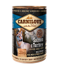 CARNILOVE WILD-ORIGIN REAL MEAT SALMON & TURKEY COMPLETE DOG FOOD x 6 TINS
