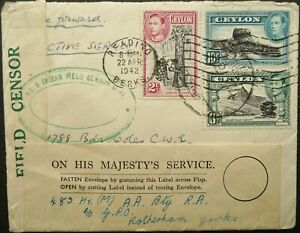 INDIAN FORCES IN CEYLON 16 FEB 1942 CENSORED COVER FROM F.P.O 74 TO ENGLAND