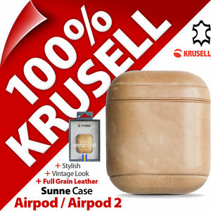 Krusell Sunne vintage GENUINE LEATHER Case Handmade Cover for Airpod 1 / 2