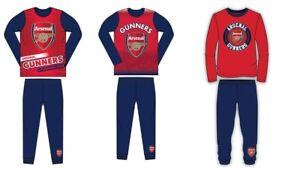 Boys Kids Arsenal FC Pyjamas PJs Gunners Red Nightwear 2 to 12 Years Long Sleeve