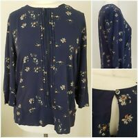 Laura Ashley Womens Navy Blue Black Red Floral Blouse Top 14 Autumn Spring