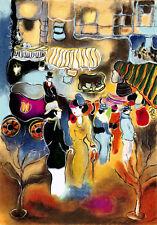 """STREET SCENE"" Rare Serigraph in 60 Colors S/N By Israeli Artist Zule Moscowitz"