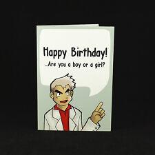 OAK BIRTHDAY WISHES - A6 GREETING CARD - nintendo pokemon game gaming gamer