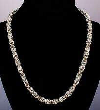 Byzantine Handmade Chain Maille Necklace Sterling & 14K Gold-Fill Chainmail iDu