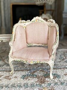 1990s Artisan Miniature Dollhouse Child's Size Wing Back Silk Painted Chair 1:24