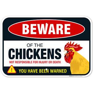 Beware of Chicken Sign, Chicken Coop Decor Gifts for Chicken Lovers,