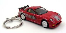 Custom Keychain 1993 Mazda RX7 Red Silver and Black Key Chain Ring Fob