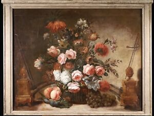 18th CENTURY HUGE FRENCH OLD MASTER OIL ON CANVAS - BASKET FLOWERS IN FIREPLACE