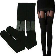 GN- Women Attractive Sexy Stretchy Stockings Black Leggings Socks/w Decorated Ga