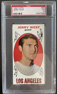 1969 Topps, #90, HOF Jerry West, Los Angeles Lakers PSA 5 EX
