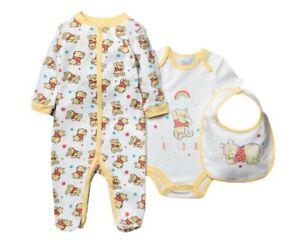 BNWT Disney Winnie Puuh Baby Baumwolle Erstausstattung Satz Schlafanzug Top Bib