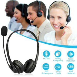 USB Headset with Microphone MIC Computer Headphones for Call PC Laptop USB MD