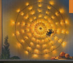 XL LED Spinnennetz  Lichterkette Lichternetz  Halloween Spinne 150 cm