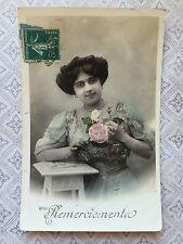 Pretty  Fashion Beauty Lady Flowers Original Vintage Postcard c.1911