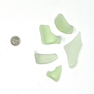 URANIUM GLASS Tumbled Sea Glass UV Glow 5 Pieces Seafoam Vintage Atlantic Ocean