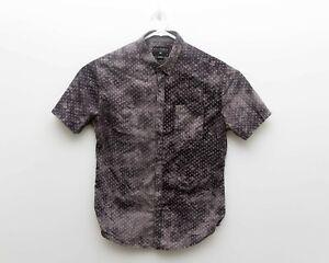 Billabong Mens Black Mustard Short Sleeve Button Front Shirt - sz M