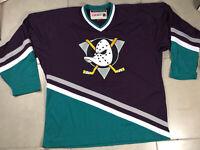 VTG Mens Anaheim Mighty Ducks Sz XL Purple CCM Retro Team Classics Hockey Jersey