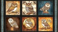 "OWL - OWLS QUILTING TREASURE FABRIC WHERE THE WISE THING PICTURE PATCHES 23""x44"""