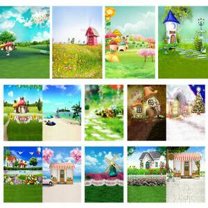 Flower Grass Garden House Photography Background Studio Kids Photo 3x5ft 5x7ft