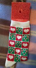 Novelty Fashion Christmas holiday Crew Socks Red Green Glitter Hearts White 9-11