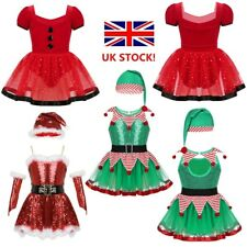 UK Girls Christmas Dance Costume Fancy Dress Outfit Skating Dancewear Leotards