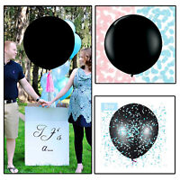 "36"" Gender Reveal Confetti Pink Blue Balloon Black New Baby Shower Party Decor"