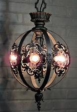 "Vintage Antique Bronze Theater Chandelier 6 Light Restored Art Deco 39 1/4""L"