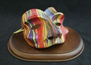 Robert Shields Design Multi-Color Decorative Clay Mask Figure + Display Stand