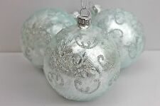 GISELA GRAHAM CHRISTMAS PALE BLUE DAMASK GLASS BALL WITH SILVER SWIRLS X 3