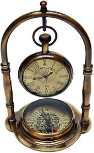 Nautical Brass Maritime Table  Clock with Vintage Magnetic Antique Compass