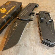 USMC MARINES Warlord STONE WASH Folding Blade Rescue Pocket Knife Glass Breaker