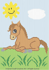 Crochet Patterns - CUTE PONY/HORSE Color Graph Baby Afghan Pattern