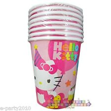 HELLO KITTY BIRTHDAY 9oz PAPER CUPS (8) ~ Party Supplies Beverage Drink Sanrio