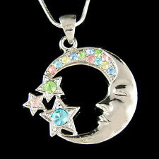 w Swarovski Crystal Rainbow Fairy Celestial CRESCENT MOON Wish STAR Necklace New