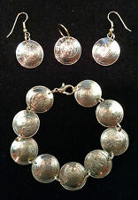 Widows Mite BRACELET EARRINGS of Israel Israeli 5 Agorot coins JEWELRY