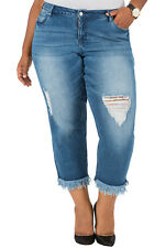 Poetic Justice Plus Size 20 Womens Curvy Fit Cropped Frayed Boyfriend Jeans NWTD