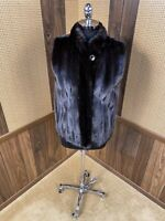 BEAUTIFUL FURS BY RUSSELL INC. DYED BLACK RANCH MINK FUR VEST SMALL 2 - 4