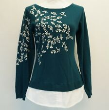 Charter Club Womens Top Layered Look Floral Embroidered Sweat Deep Pine S $79