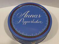 Vintage Annas Pepparkakor Swedish Gingerbread Cookies Used Round Tin Box
