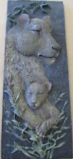 NEW AFRICAN SAFARI ANIMAL WILDLIFE WALL PLAQUE DECOR 3-D RAISED CERAMIC LION