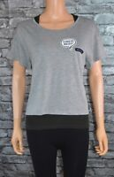 Ladies Short Sleeved Grey Round Neck T-Shirt Sports Tee Yoga Top Gym Size 12